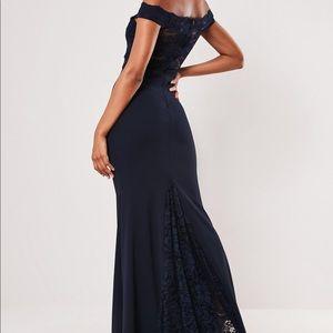 Navy Bardot Lace Fishtail Maxi Dress